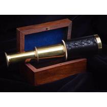 Telescopio De Mano Pirata Echo De Laton Con Caja De Madera