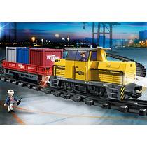 Playmobil 5258 Tren De Mercancias Rc Ciudad Vias Retromex!!