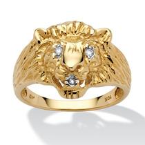 Anillo Cabeza León Oro Amar. 10k Acento Diamante Hombre T.9