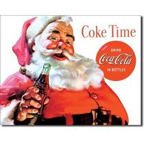 Coca Cola Santa Vintage Retro Letrero Cartel Poster Anuncio