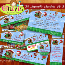 Kit Imprimible Navidad No 3 Tarjetas Invitaciones Candy Bar