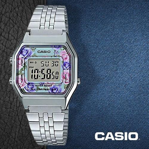 5b2638812443 Reloj Casio Retro La680 Dama Plata Flores  watchsalas  Full