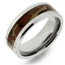 Tb Anillo Gay 8mm Tungsten Camouflage Comfort Fit Ring, Size