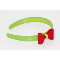 Diadema Plástico Moño Verde Y Rojo Dia109