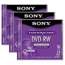 Paq.3 Mini Discos Dvd-rw Sony Handycam 4x 1.4gb Re-grabables