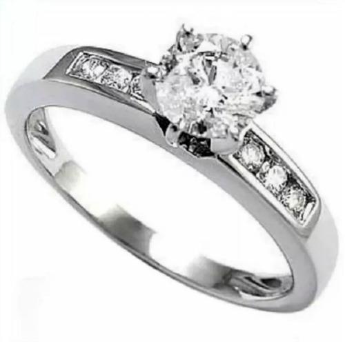 ef0d6a370eec Anillo Compromiso Oro Blanco 18kt .30ct De Diamante Central  11391 ...