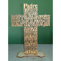10 Cruces Mdf Con Oración Padre Nuestro 20 Cms Base Grabada