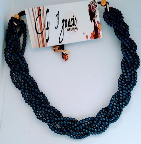 6fb6e6f16994 Set Collar Y Aretes De Perla Y Cristal Moda Bisuteria Fina