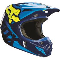 Casco Fox V1 Race Azul Amarillo 2016 Motocross Atv Talla S