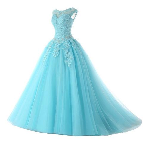 Vestido Xv Años 15 Años Quinceaños Nuevo Azul Lila Morado En