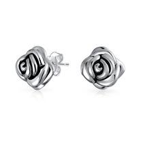 Aretes De Tachón Bling Jewelry Largo Flor Rosa Plata 925