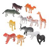 Lote 12 Plástico Zoo Safari Animales León Tigre Leopardo
