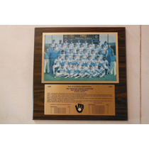 Placa Madera Mlb Baseball Milwaukee Brewers 1982 Champions