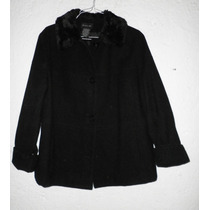 Fino Jacket Blazer Saco Abrigo De Lana Negro Mujer Xl-40