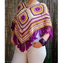 Mañanita Capa Poncho Tejido Crochet Colorido