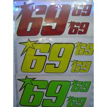 Calcomanias Numero #69 Motocicletas