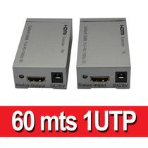 Extensor Hdmi Por Utp 60 Metros Cat5u/6 1 Solo Cable Utp