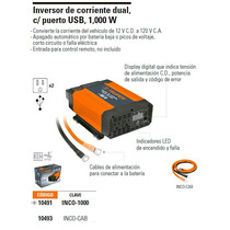 Truper Inversor De Corriente Dual 1,000w C/puerto Usb 10491