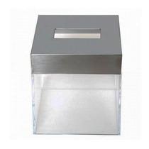 Porta Kleenex Cuadrado De Pvc Y Acero Color Blanco Namaro