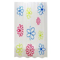 Cortina Para Baño En Color Blanco Con Diseño De Flores Ba-43