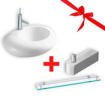Lavamanos Baño + Repisa De Cristal + Gancho Para Toalla