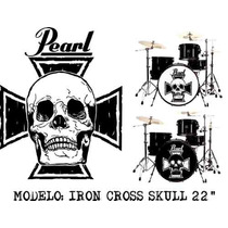 Skin Sticker Parche Batería Bombo Iron Cross Skull, Vinil