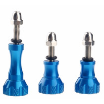 Gopro 3 Tornillos De Aluminio Azul Adaptador Go Pro Monopod