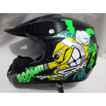 Casco Profesional Bmx/ Cross Diseño Grafitti Emoticon