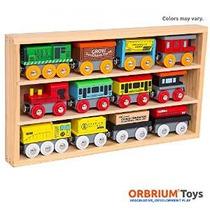 Orbrium Juguetes 12 Pcs Motores De Madera Y Coches De Tren C