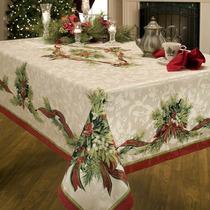 Benson Mills Christmas Ribbons Engineered Printed Fabric Tab