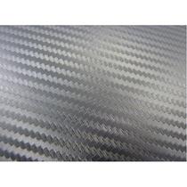 Vinil Plateado Imitacion Fibra De Carbono Plata 1.52m X 1m