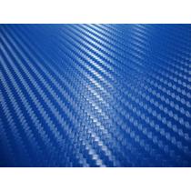Vinil Azul Imitacion Fibra De Carbono Plata 1.52m X 1m