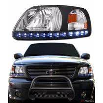 Faros Ford F150 Negro Y Con Cromo Y Tira De Led Integrada