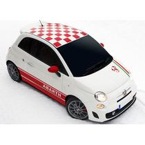 Sticker Vinil Fiat 500 Toldo Cuadriculado Checkered Roof