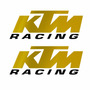Sticker - Calcomania - Vinil - Logo Ktm Racing Cromo Dorado
