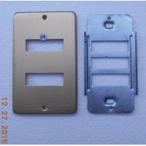 Tapa 2 Ventanas Aluminio Dorado P/caja Contacto-apagador 50s