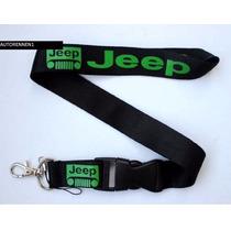 Portagafete Jeep Cordon Credenciales Llaves Letras Verdes