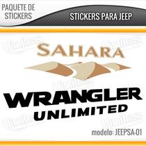 Paquete Calcomanias Stickers Jeep, Sahara Unlimited Y 4.0l