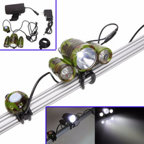 Lampara Led Camo Recargable 3 Leds T6 Bicicleta Potente