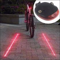 Lampara Trasera Para Bicicleta Con Laser Y Luz Led