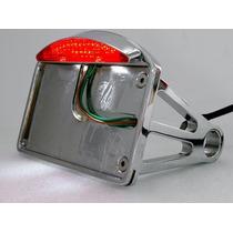 Portaplacas Lateral Cromo/negro Con Stop, Para Moto