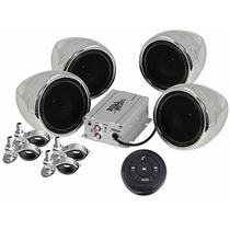 Kit 4 Bocinas Para Moto Con Bluetooth Amplificador 1000w Usb