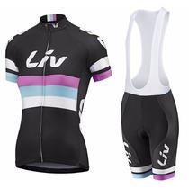 Uniforme Ciclismo Liv Negro 2015 Mujer, Jersey + Short Bib