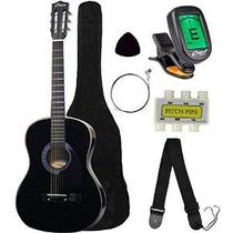 Media Luna Mg38-bk 38 Guitarra Acústica Paquete Inicial, Ne