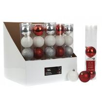 Decoración De Navidad - Paquete De 5 Plateado Blanco Y Rojo