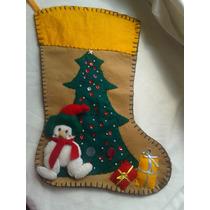Bota De Navidad De Fieltro Con Muñeco De Nieve