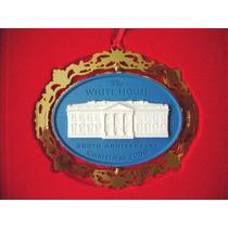 Ornamento De La Casa Blanca - Baño De Oro - Navidad Del 2000