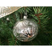 Caja 12 Esferas Navidad Trasparentes Con Estrellas Plateadas