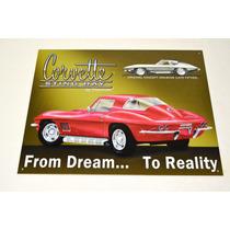Tsn0694 Letrero Lamina Decorativa Corvette Sting Ray Vv4