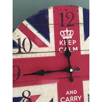Reloj De Pared Bandera Inglesa, Estilo Vintage